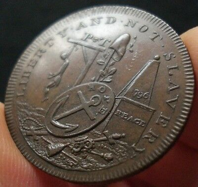 1796 Man Hanging Conder Token Liberty and Not Slavery