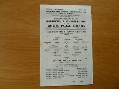 1St February 1958 Bournemouth Res V Crystal Palace Res Football Combination