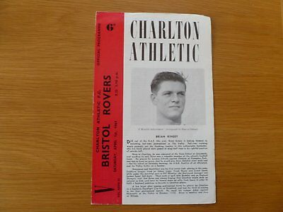 1St April 1961 Charlton Athletic V Bristol Rovers League Division Two
