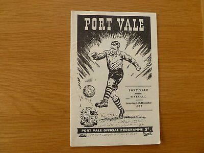 14Th December 1957 Port Vale V Walsall League Division Three South