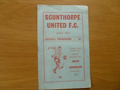 26Th December 1958 Scunthorpe United V Sunderland League Division 2