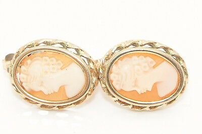Vintage 9Ct Yellow Gold Large Cameo Stud Earrings