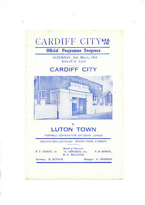 Cardiff City Reserves Luton Town Reserves 1963/4