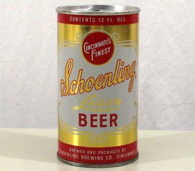 """SCHOENLING LAGER """"RING TOP CAN"""" EARLY PULL TAB BEER CAN CINCINNATI OHIO OH 1960s"""