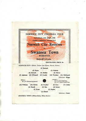 NORWICH CITY RESERVES v SWANSEA TOWN RESERVES 1967/8