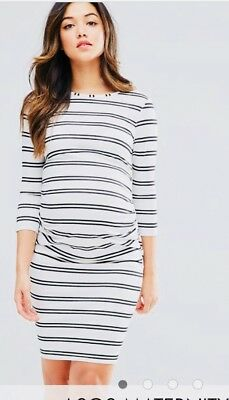 Asos Maternity White Black Twin Stripe Dress Size 10 Long Maxi women's ladies