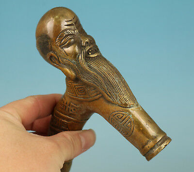 Chinese Bronze Handmade Castig Sage Collect Statue Usable Walking Stick Head