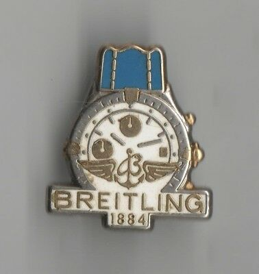Pin's Montre Watch Breitling Argent Bracelet Bleu Cadran Or Non Numerotee Ab