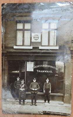 Postcard of Manchester Corporation Tramways Parcels Office with Personnel