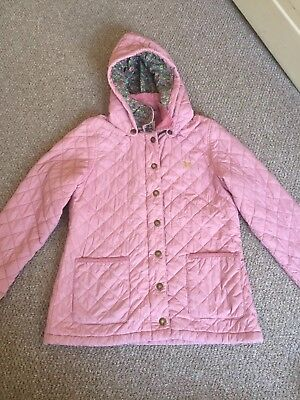 Girls Age 11-12 Mini Boden Coat Quilted Jacket Pink Removable Hood