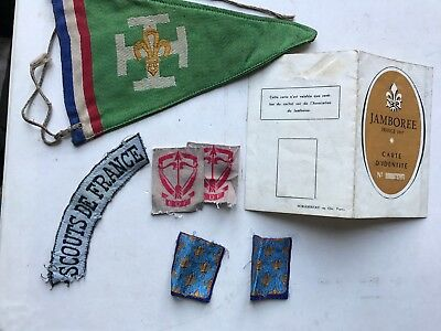 ecussons +fanion + carte jamboree 1947 scout scoutisme