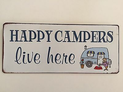Blechschild 30 X 13 cm HAPPY CAMERS lives here