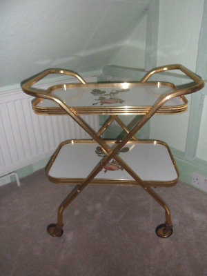Vintage Gold Anodised Folding 2 Tier Cocktail Tea Trolley   Very Good Condition