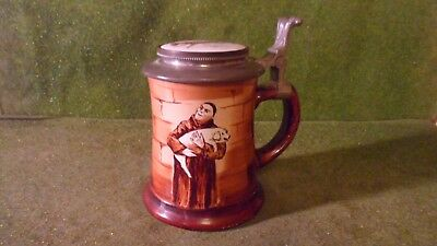 Antique O'HARA DIAL CO. Lidded Beer Stein Monk Friar Carrying Pig