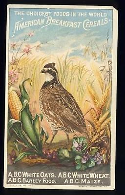 A. B.C., American Breakfast Cereals, Quail,  Victoran trade card