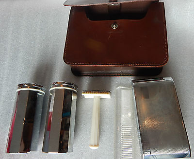 Vintage 1950's Gents Traveling Chrome Grooming set leather cased good quality