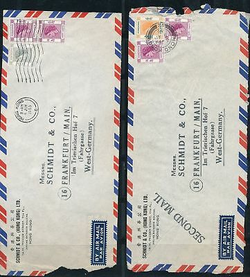 Hong Kong QE Airmail Covers To Germany 10 Items Au 9775