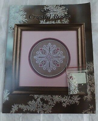 Just Nan Cross Stitch pattern chart Crystal Roses with embellishments
