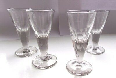 Set of Four Antique Georgian Drinking Glasses With Spliced Facets