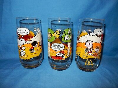 e478472501 3 CAMP SNOOPY Collection Glasses