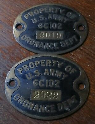 (2) WWII US Army Ordnance Dept. Tags Plaques Brass -Serial Numbered
