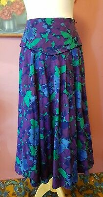 Vintage womens 80s high waisted purple and green skirt