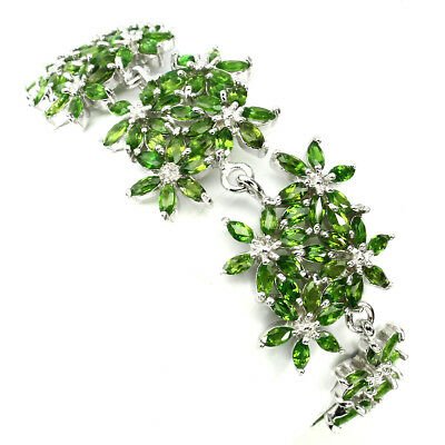 Charming Marquise 4x2 Mm Top Green Chrome Diopside 925 Sterling Silver Bracelet