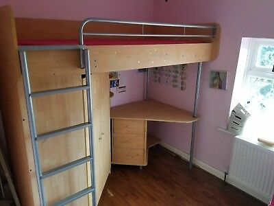 bunk bed with mattress desk and wardrobe
