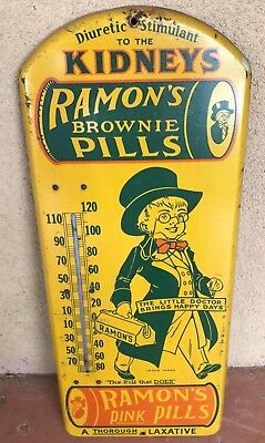 "Vintage and Rare Ramon's Laxative Pills Metal Thermometer 21"" x 8.75"""