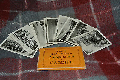 Vintage Set Of 12 Real Photo Snap Shots Album CARDIFF In card box black & white
