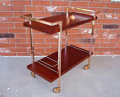 Used Contemporary Nickle-Plated Steel & wood Serving Trolley Cocktail Bar Cart