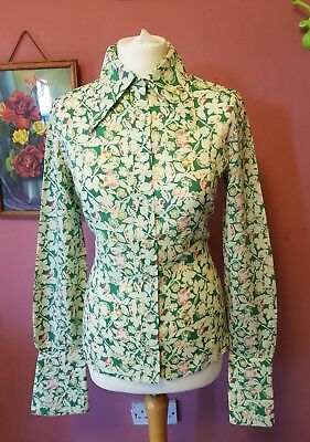 Vintage womens 70s green, yellow and pink long sleeve dagger collar shirt