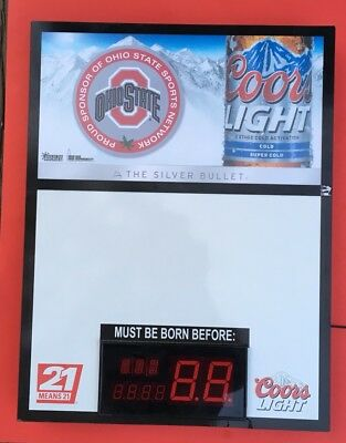 Coors Light Beer LED Ohio State Buckeyes Message Sign Born Before This Date / 21