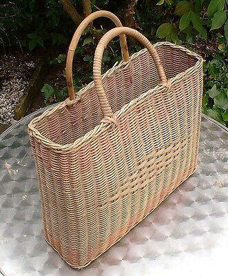 """VINTAGE AUTHENTIC 13"""" PATTERN WICKER SHOPPING BASKET - Country style shabby chic"""