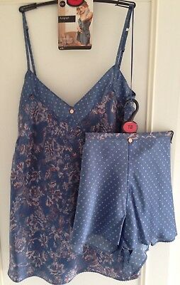 M&S 100% Silk Camisole & French Knickers 18 Rosie Autograph Blue RRP £64.50 BNWT