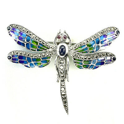 Awesome Blue Sapphire Marcasite Ruby 925 Sterling Silver Enamel Dragonfly Brooch