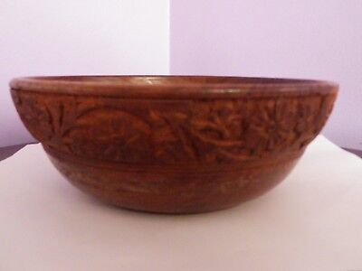 FAB VINTAGE WOODEN TURNED BOWL WITH FLOWER CARVING TO TOP OUTSIDE 20cms DIAMETER