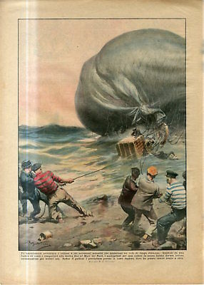 1933 German Air Balloon in North Sea by wind storm crashed to coast of England