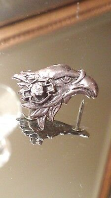 Rare Vintage Sterling Silver Harley Davidson Eagle Pin With CZ