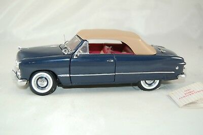 Franklin Mint 1949 Ford Convertible Blue Tan Top Die Cast Metal Car 1:24 Scale