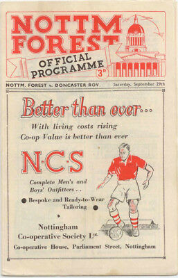 1951-52 Nottingham Forest v Doncaster Rovers Football League Division Two