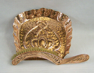 Superb Antique English Arts & Crafts Art Nouveau Copper Crumb Tray & Brush C1910