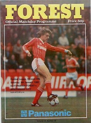 1981-82 Nottingham Forest v Birmingham City Football league Division One