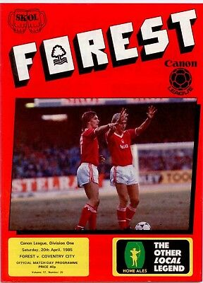 1984-85 Nottingham Forest v Coventry City Foootball League Division One
