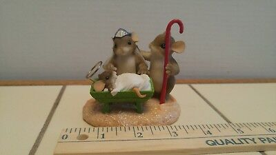 """Charming Tails """"A Gift From Above"""" Fitz Floyd Mouse Figurine CHRISTMAS NATIVITY"""