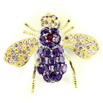 Awesome Oval 5x3mm Intense Purple Amethyst Garnet 925 Sterling Silver Bee Brooch
