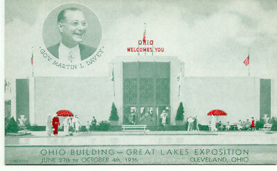 Ohio Building - 1936 Great Lakes Exposition Postcard  -  Cleveland OH