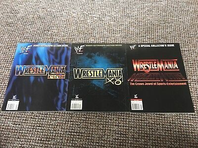 WWF/ WWE, Set Of 3 Wrestlemania Magazines,WCW,ECW,TNA,Signed very Rare