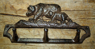 Cast Iron BEAR Towel Hanger Coat Hooks Hat Hook, Key Rack Hunting Camp RUSTIC