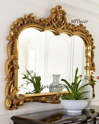 "Ornate French Tuscan Victorian Gold Wall Mirror Mantle Foyer Antique Style 55""W"